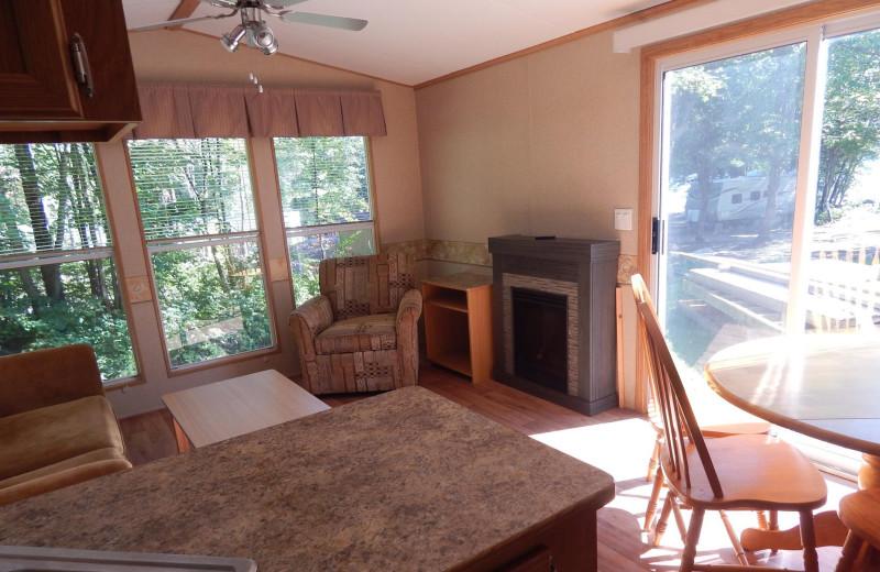 Cabin living room at Bonnie Lake Resort.