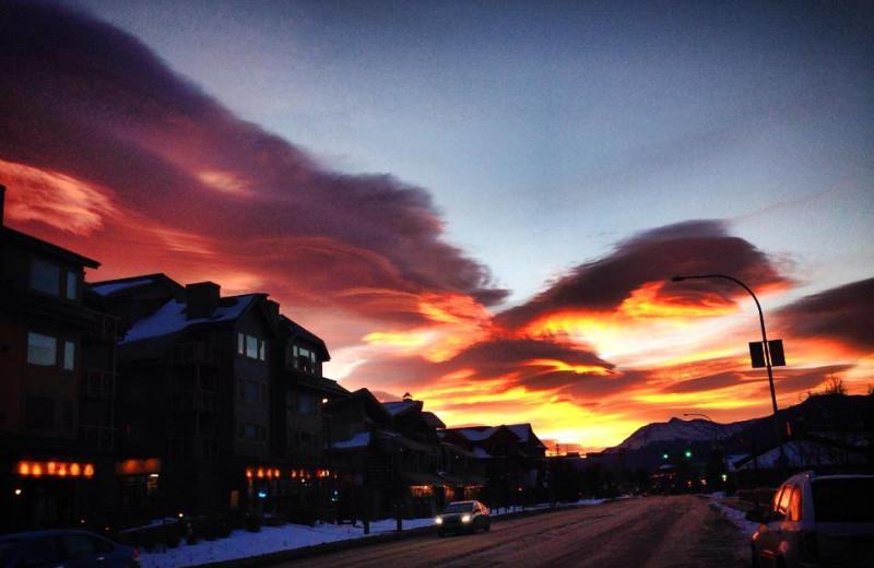 Sunset at Grande Rockies Resort.