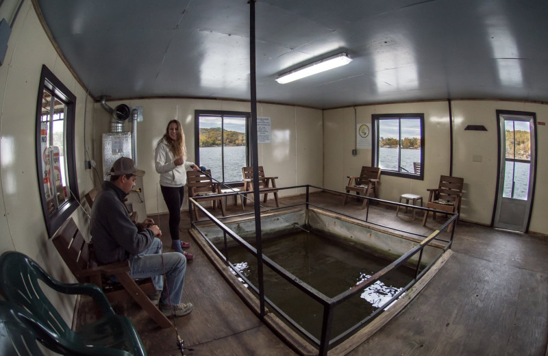 Indoor fishing dock lets you fish no matter the weather.