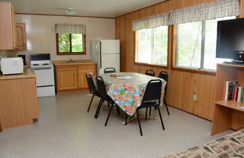 Cabin kitchen at Riverside Resort.