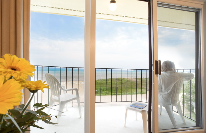 Guest balcony at Pointes North Beachfront Resort Hotel.