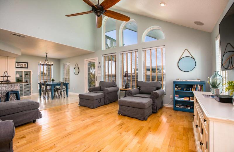 Rental living room at Gary Greene Vacation Rentals.