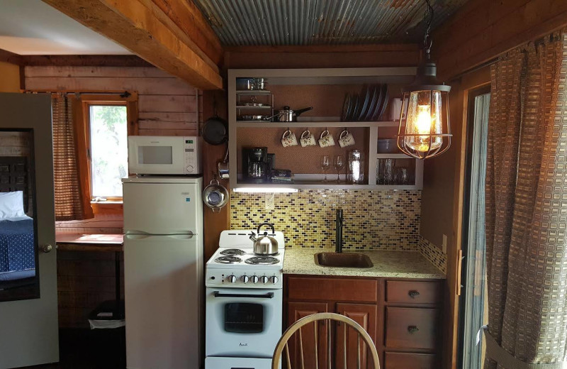Cabin kitchen at Arkansas White River Cabins.