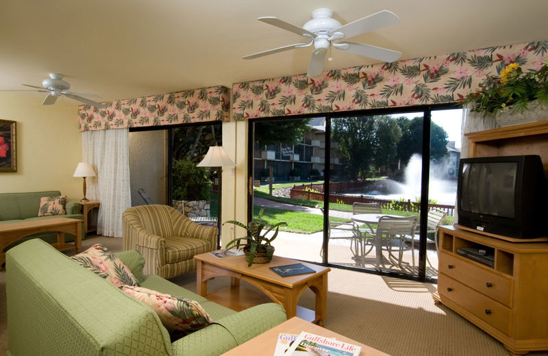 Living Room in Unit at Park Shore Resort