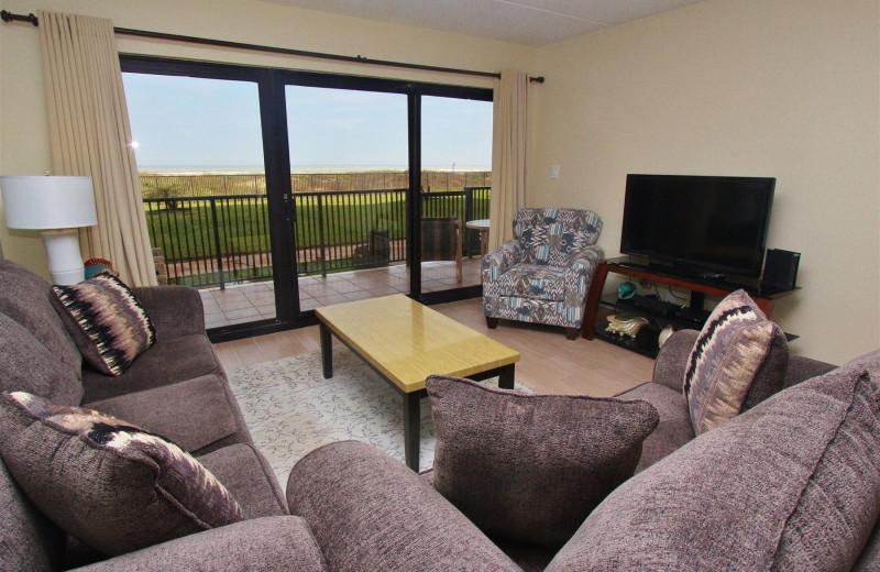 Rental living room at Seabreeze I.