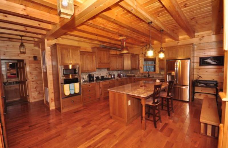 Rental kitchen at Rumbling Bald Resort.