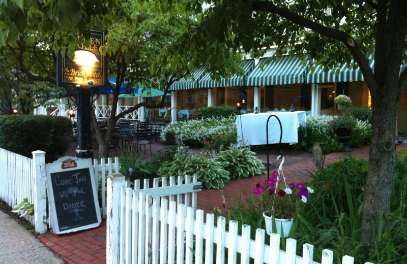 Restaurant patio at Brick Hotel & Restaurant.