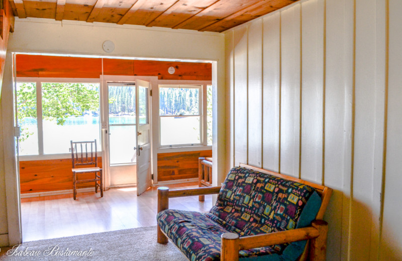 Cabin living room at Meeks Bay Resort & Marina.