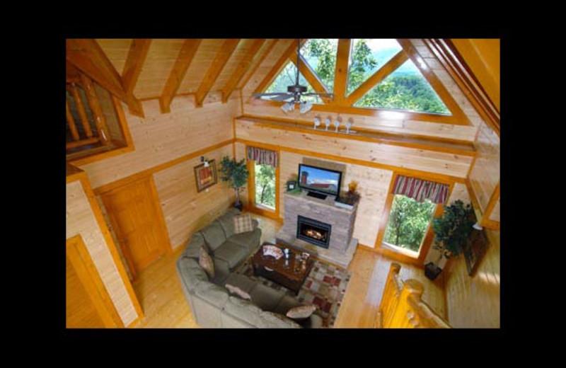 Cabin living room at Eden Crest Vacation Rentals, Inc. - Poolin' Around Cabin Rental.