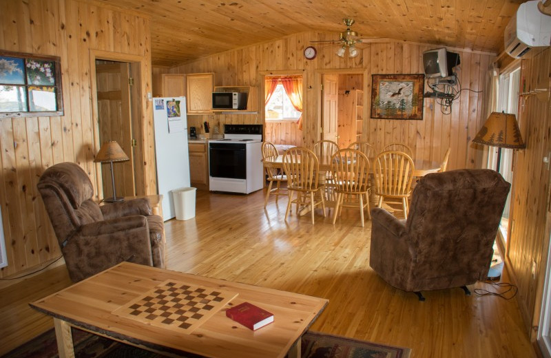 Cabin interior at Bear Paw Resort.