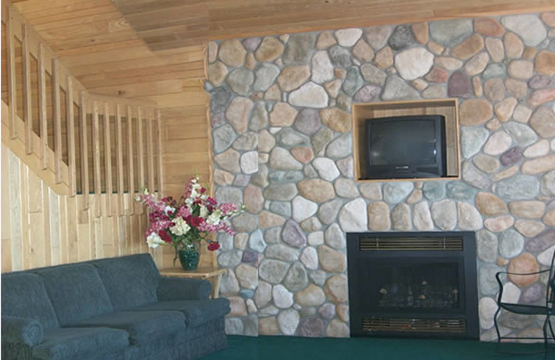 Fireplace at Gull Lake Resort.