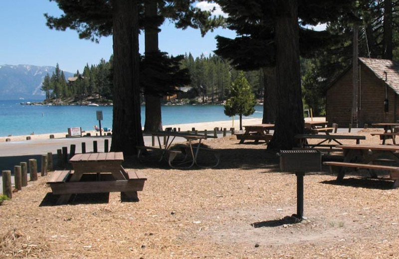 Picnic area at Meeks Bay Resort