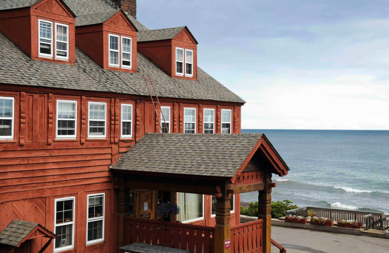 Exterior view of Lutsen Resort on Lake Superior.