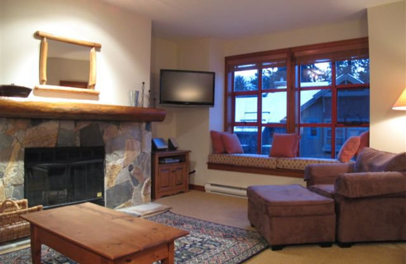 Guest living room at Whistler Retreats.