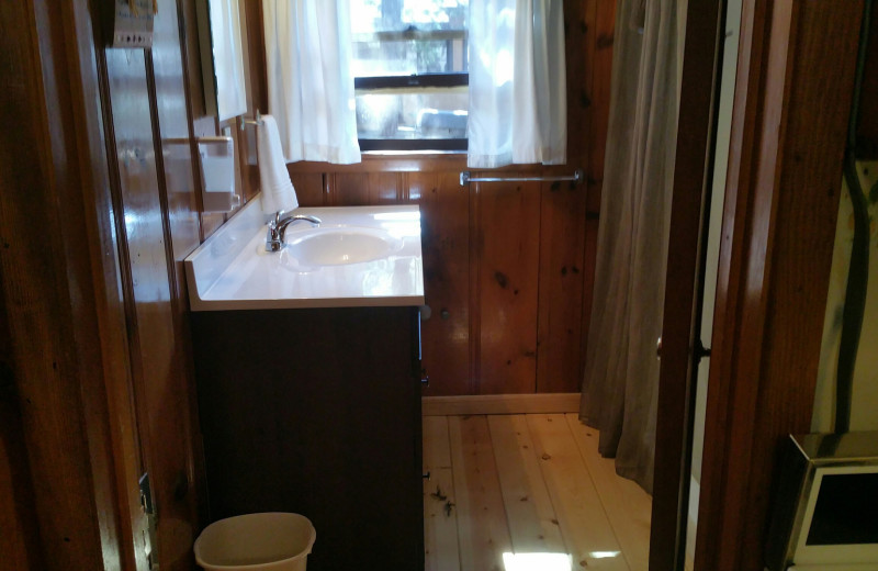 Cabin bathroom at Hidden Rest Resort.