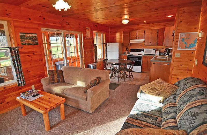 Cabin interior at Mystic Moose.