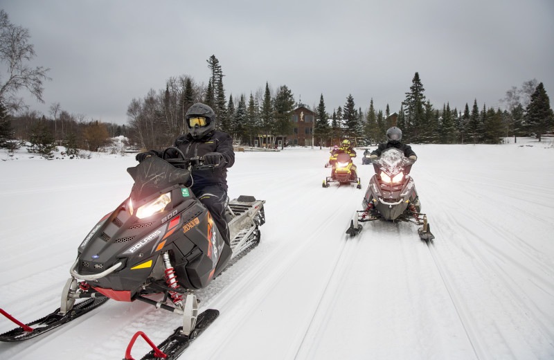 reach hundreds of miles of snowmobile trails from Skyport Lodge