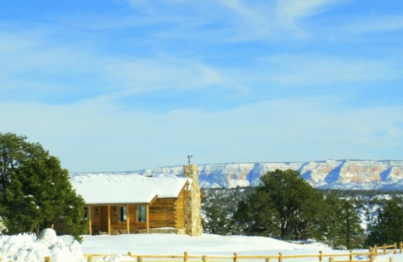Exterior winter view at Zion Mountain Ranch.