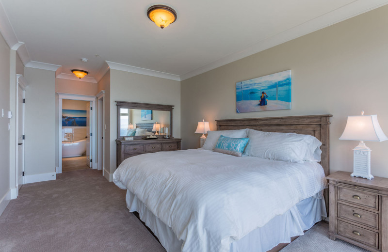 Guest bedroom at SookePoint Ocean Cottage Resort.