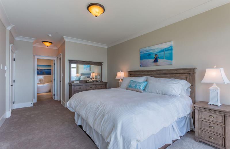 Guest bedroom at SookePoint Ocean Cottage Resort.