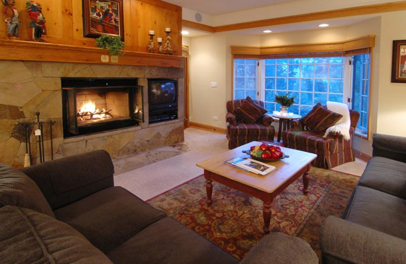 Guest living room at The Charter at Beaver Creek.
