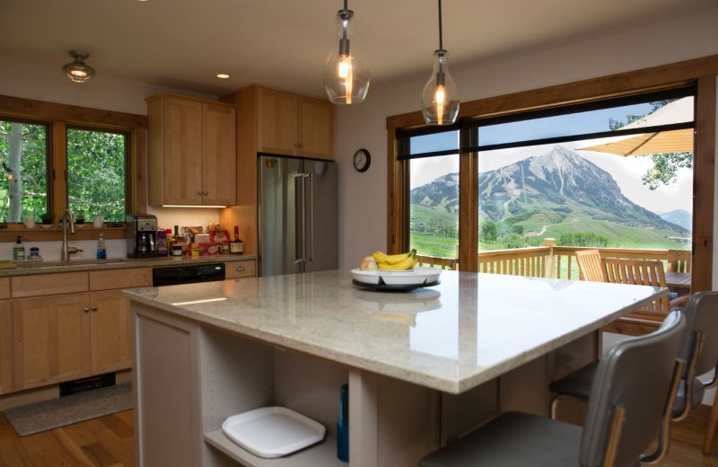 Rental kitchen at Alpine Getaways.