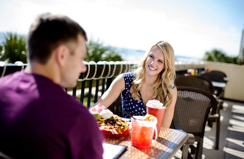 Patio dining at Compass Cove Resort.