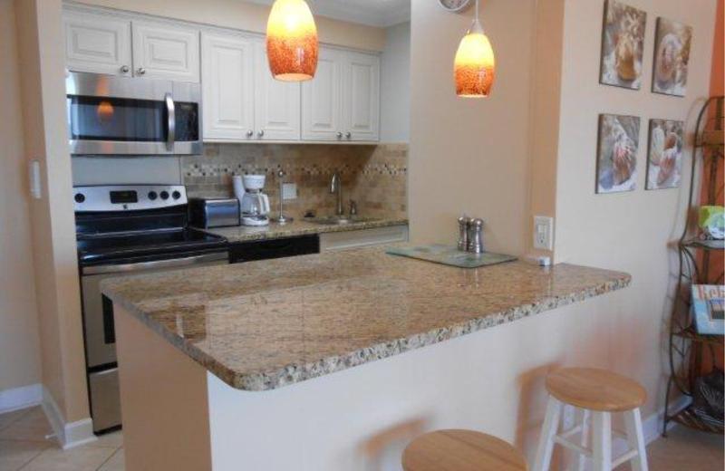 Condominium kitchen at Dolphin Run Condominiums.
