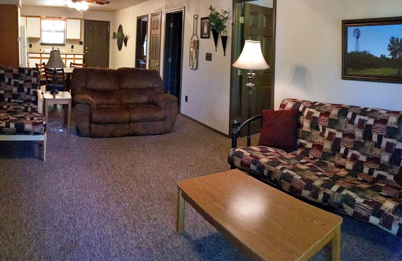 Condo living room and kitchen at Heart of Texas Lake Resort.