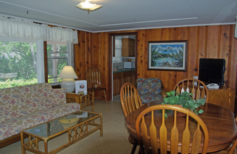 Cabin dining and living room at Rock Reef Resort.