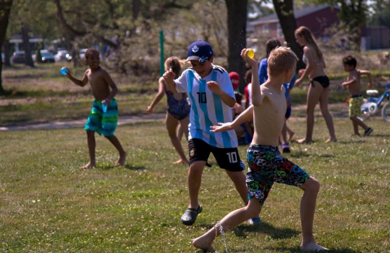Kids playing game at Great Blue Resorts- Vine Ridge Resort.