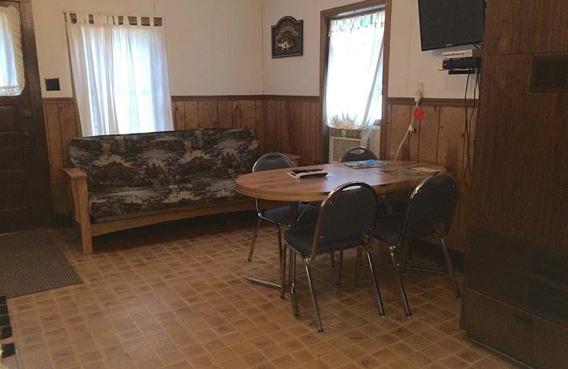 Cottage interior at Popp's Resort.