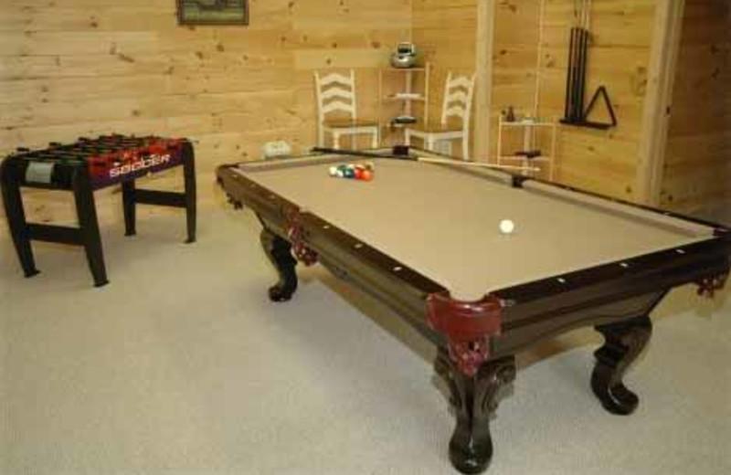 Game Room at JP Ridgeland Cabin Rentals