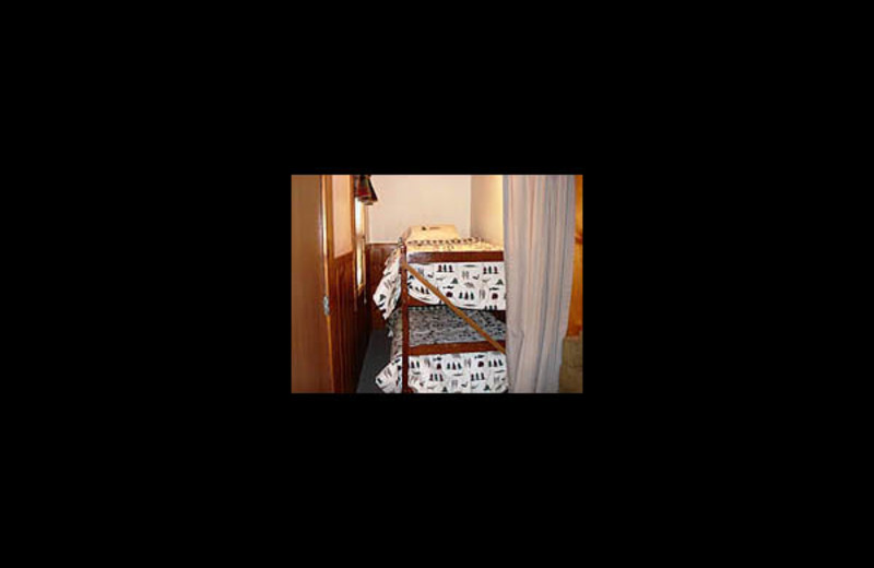 Cabin bedroom at Lakeview Resort on Grindstone.