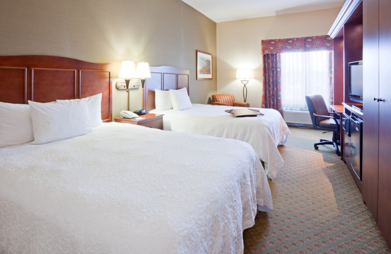 Two bed guest room at Hampton Inn Duluth.