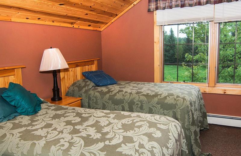 Cabin bedroom at Skyport Lodge.