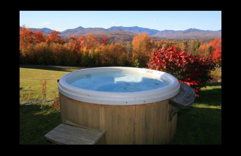 Vacation rental hot tub at Stowe Country Homes.
