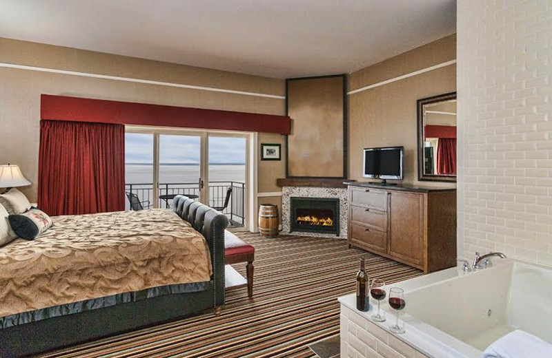 Guest room with fireplace and hot tub at Fitger's Inn.