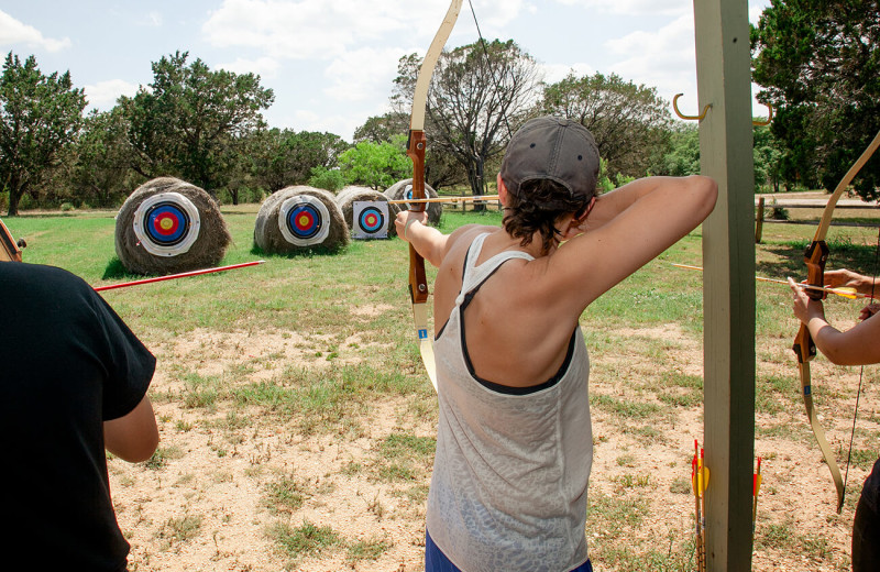 Archery practice at The Retreat at Balcones Springs.