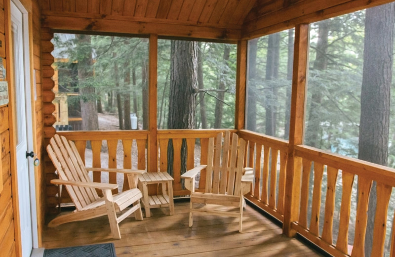 Cabin porch at Mi-Te-Jo Campground.