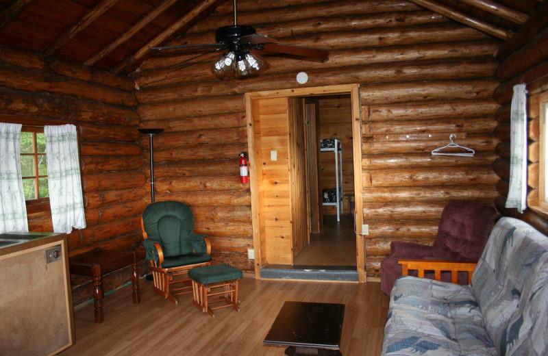 Cabin interior at Pipestone Lodge.