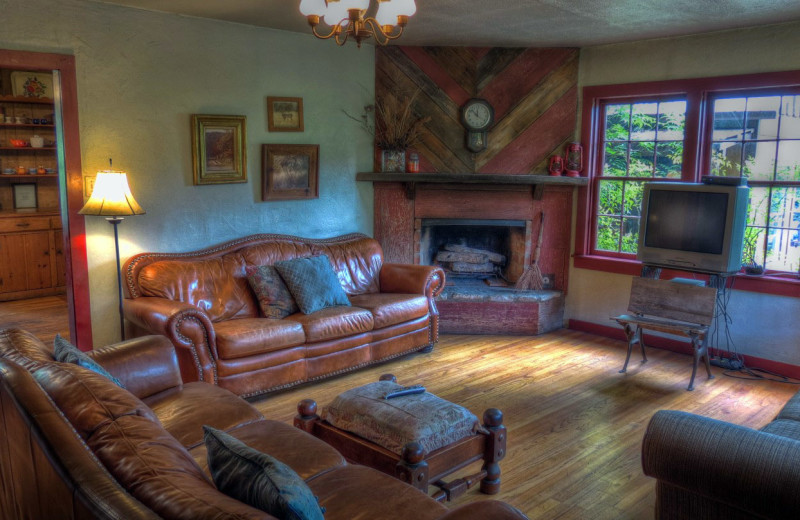 Cabin living room at Foxfire Cabins.