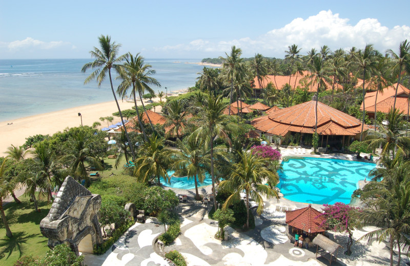 Beach and pool at Grand Bali Beach Hotel.