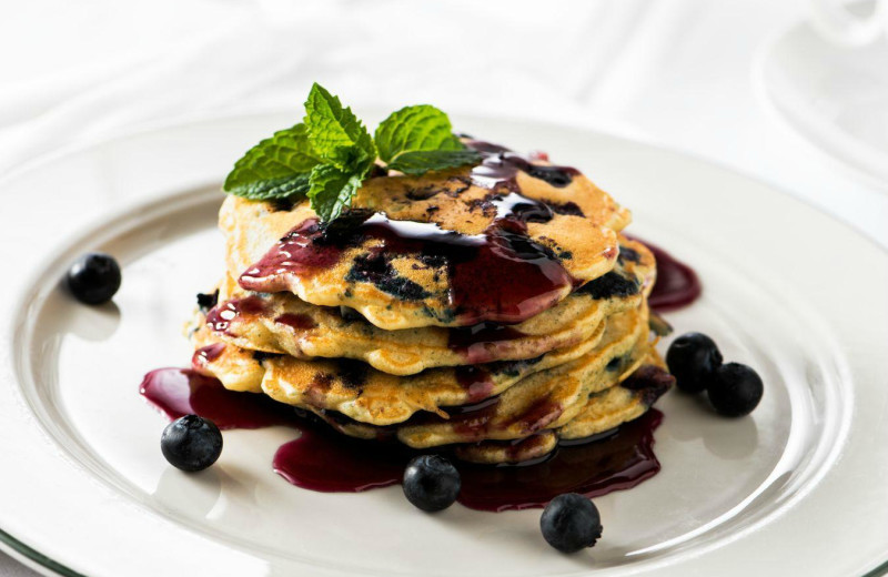 Blueberry pancakes at Applewood Inn, Restaurant and Spa.