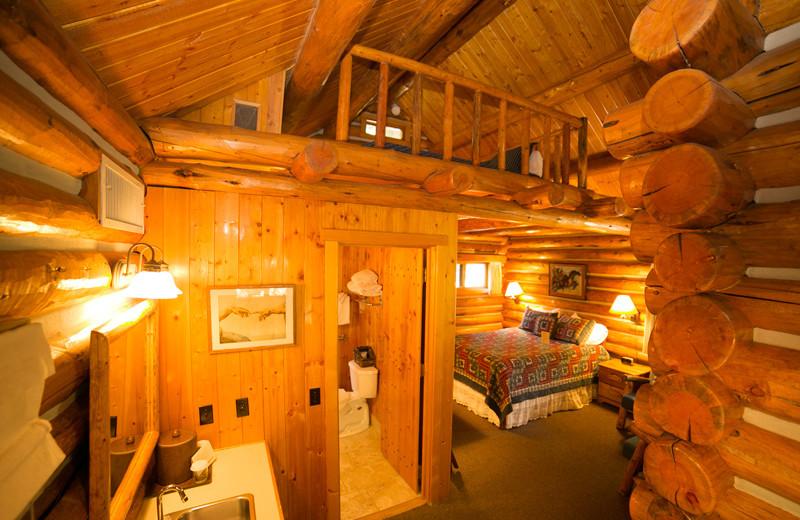 Cabin interior at Garland's Oak Creek Lodge.