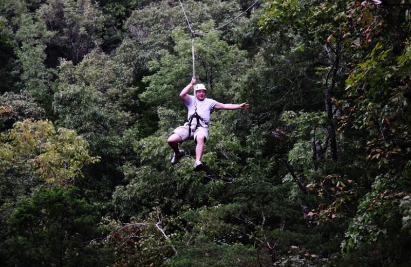 Zip lining at Stonewater Cove Resort.