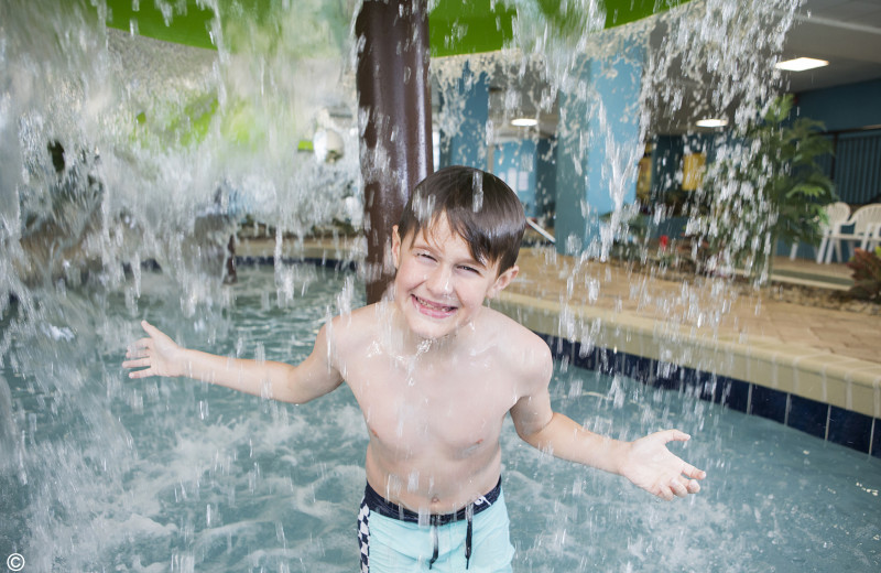 Kid in water park at Landmark Resort.