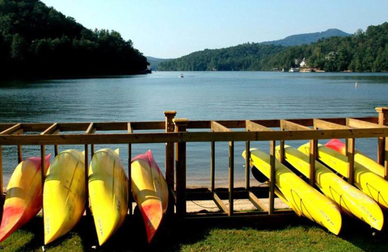 Canoes at Rumbling Bald Resort.