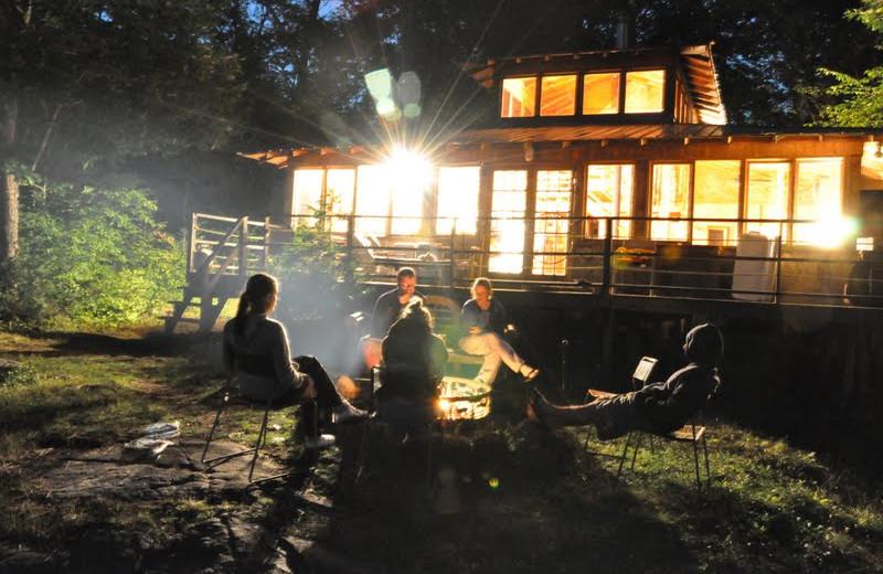 Cottage campfire at Bob's Lake Cottages.