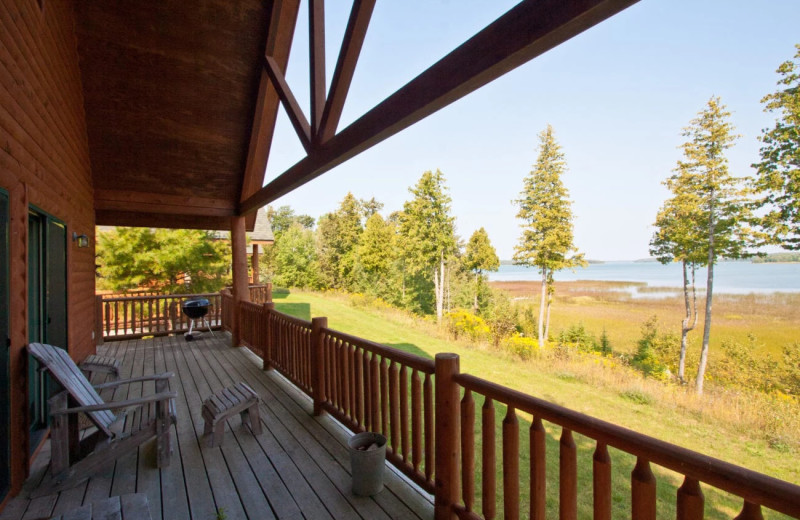 Cabin deck at Drummond Island Resort and Conference Center.